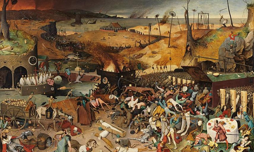 Artwork titled 'The Triumph of Death' by Pieter Bruegel the Elder depicting the results of a pandemic