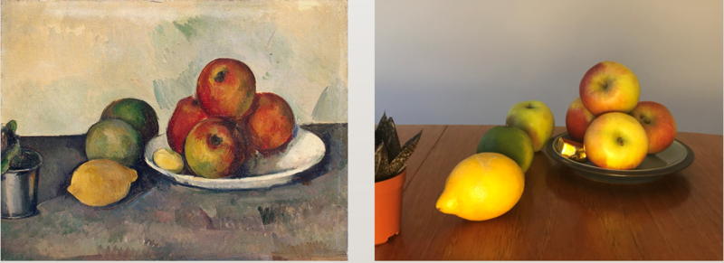Cezanne's apples painting side-by-side with a bowl of apples and lemons