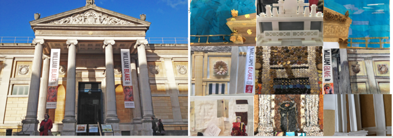 Photograph of the Ashmolean Museum beside a collage created with mixed media